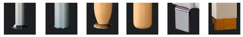 Varianty nožiček k sedací soupravě. N1, N2, N3, N4, N5, N6